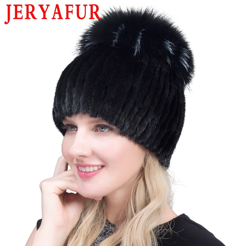 Gorra de piel de visón auténtico de invierno jeryaffur para mujer con pompón de piel de zorro plateado gorro de punto gorro de piel nueva venta