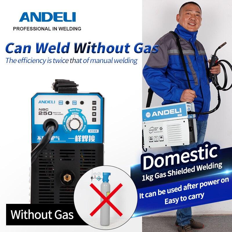 ANDELI 220В MIG-250E цифровой бытовой synergic mig сварочный однофазный сварочный аппарат мини-миг без газовой сварки mig
