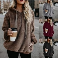 women daily solid hooded sweater coat cashmere sweater o neck pullovers zipper women 2020 autumn warm loose casual