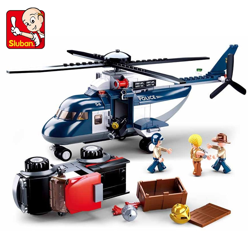 SLUBAN Police Rotor Helicopter B0656 Building Block City Series Station Special Assembled Boys Toy Cars Xmas Gift
