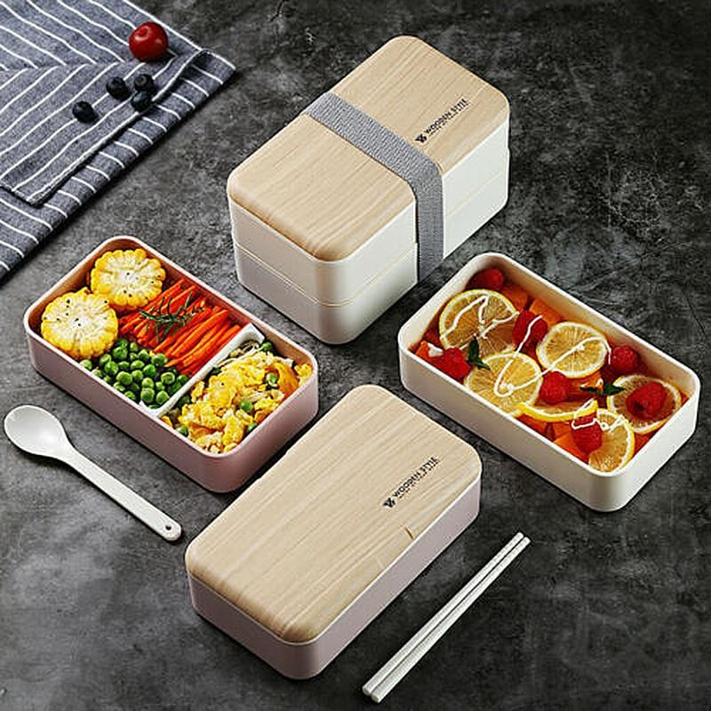 Caixa de almoço criativa portátil multifuncional, lancheira japonesa, bento de madeira, recipiente de 2 camadas, armazenamento para cozinha, almoço durável