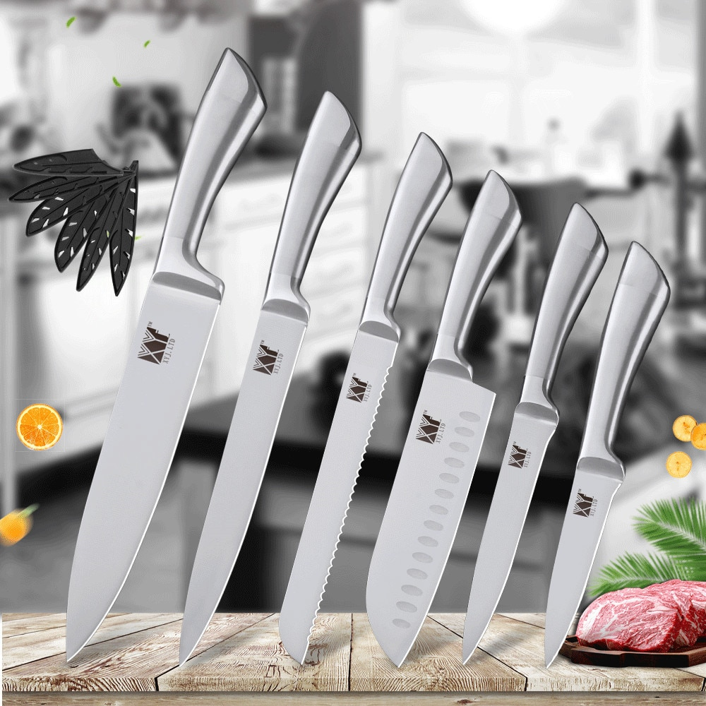 XYj 6 قطعة سكين المطبخ الفولاذ المقاوم للصدأ مجموعة عدم الانزلاق مقبض مريح 8 ''7'' 5 ''3.5'' سكينة للطبخ أدوات مطبخ اكسسوارات