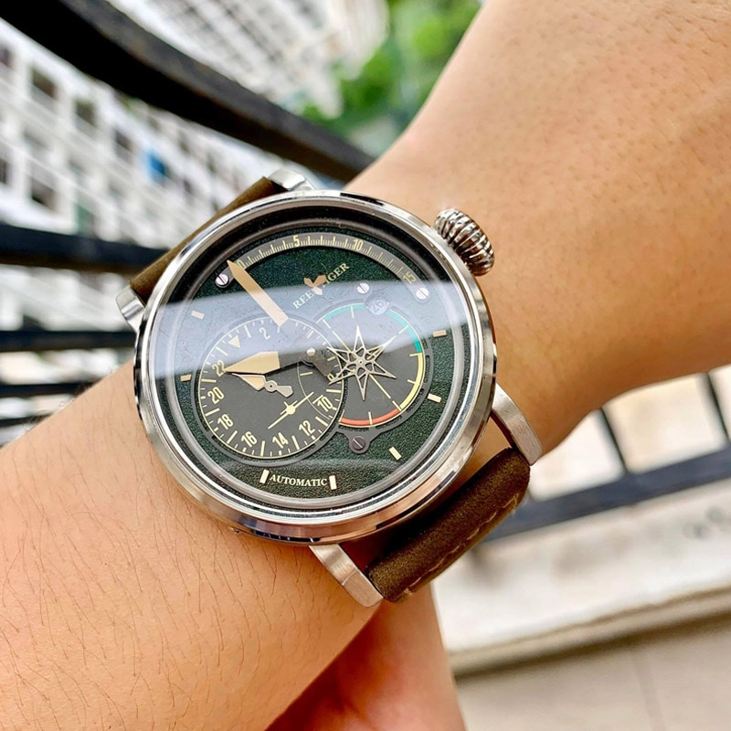 Reef Tiger/RT Black Steel Military Watches for Men Genuine Leather Strap Automatic Pilot Watch with
