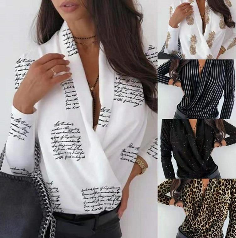 long sleeve scrawl printed v neck tee 2021 Women's Pullover V-neck Sexy Fashion Printed Long Sleeve Shirt