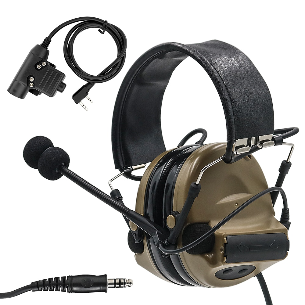 Tactical COMTAC II Airsoft Military Headset Pickup Noise Reduction Headphone Shooting Hunting Hearing Protection DE with U94 ptt