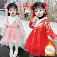 baby girl cheongsam dress winter dress plus velvet thick chinese wind childrens new year dress wear little girl tang dress