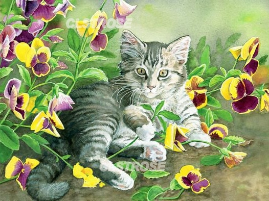 Diy Diamond Painting Kitten In Flowers Cute Home Decoration Wall Art Handmade Gift Stickers Diamond Embroidery Can Be Customized  - buy with discount