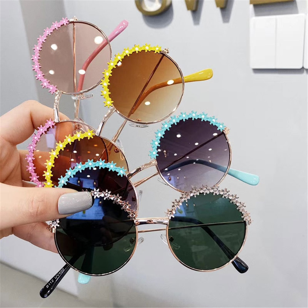 2021 Fashion Kids Sunglasses Polarized Metal Frame Sun Glasses Girls Boys Flower Children's Mirror B