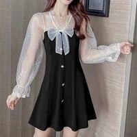 korean elegant hepburn mini party dress women casual lace long sleeve black vintage bow sexy one piece vestidos 2021 summer new
