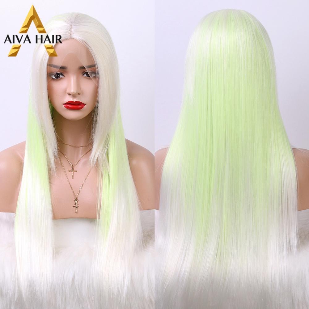 Peluca con malla frontal sintética resistente al calor Aiva, peluca larga verde púrpura con flequillo, pelucas Cosplay sin pegamento para peluca negra