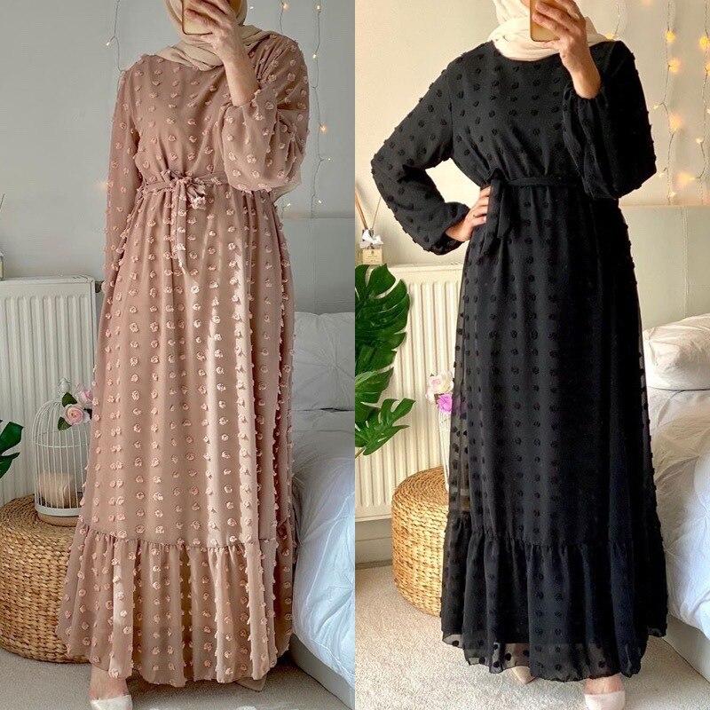 Kalenmos-Vestido largo árabe de gasa Jacquard para mujer, vestido largo musulmán de...