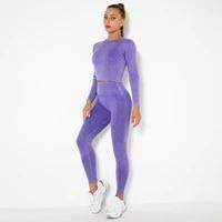 2pcs women sets hips push up leggingslong sleeve shirts workout running suits energy seamless gym sets girl fitness yoga sets