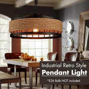 40CM Industrial Metal Kitchen Rope Vintage Pendant Lights  E26 Restaurant Cafe Retro Loft Chandelier Ceiling Hanging Lamp