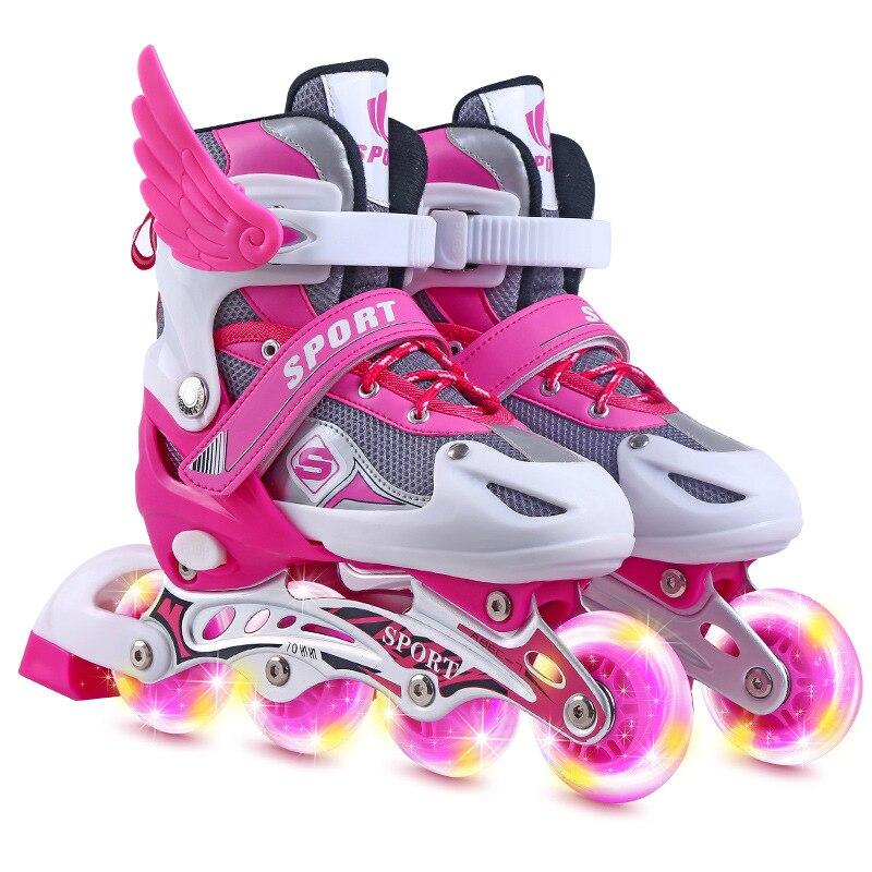 Inline Roller Skates Children Adjustable Skates Roller Skates Boy Girl'S Flash Skates Shoes Wheels Shoes Roller Skates Patines