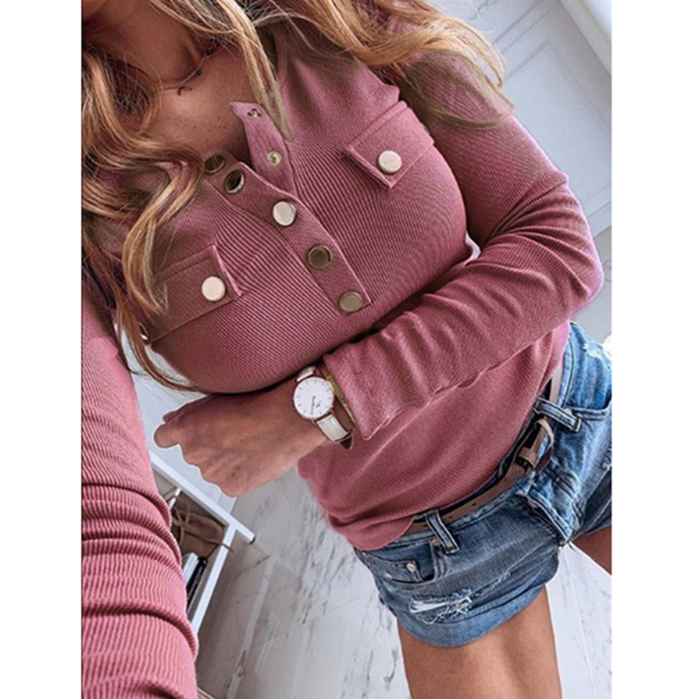 Sexy Buttons Knitted Sweater Women Slim Ribbed Winter Autumn Solid Color V-neck Sweaters Female Fashion Plus Size Knitwear 2020