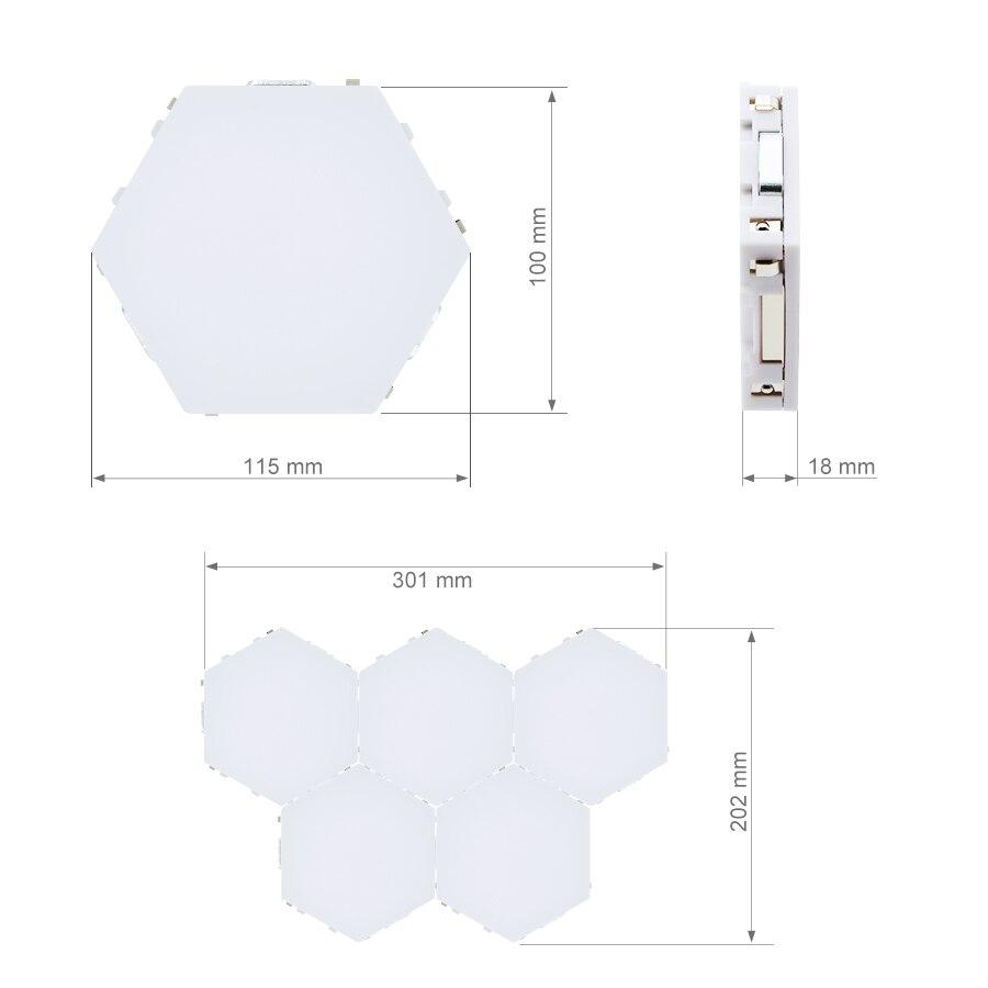 DIY Quantum Lights LED Hexagonal Lamps Wall Lamp Creative Geometry Light Smart Dimmable Touch Sensitive Modular Lighting enlarge
