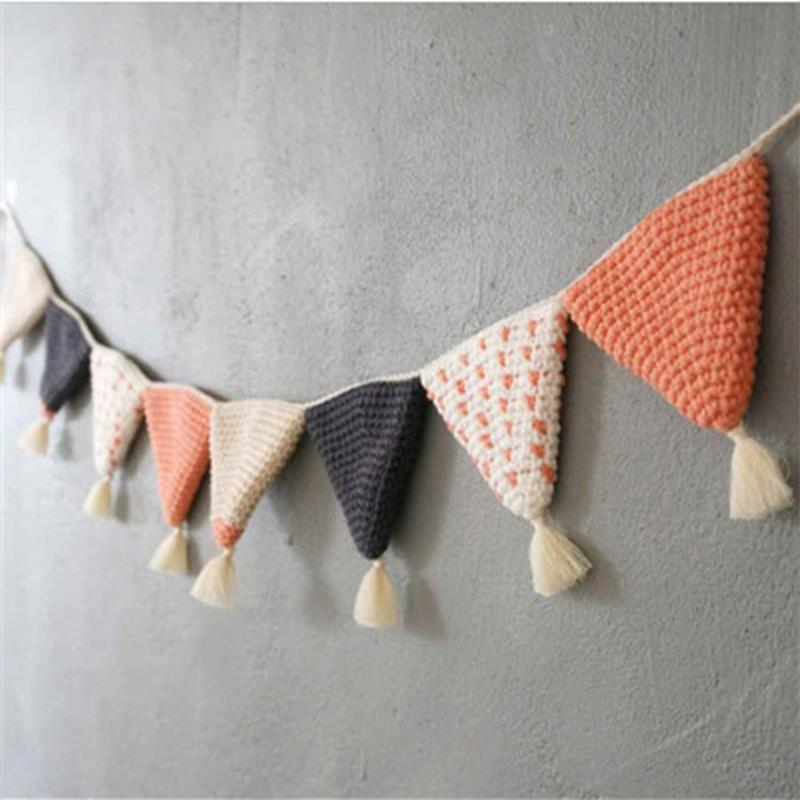 Cotton Handmade Hook Knitted Pennant For Baby Children's Room Decoration Home Hanging Accessories Party Ornaments Flags