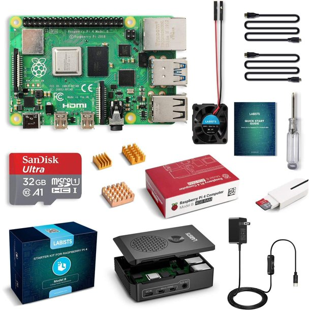 Raspberry Pi4  4GB Complete Starter PRO Kit 4GB RAM + case with fan +EU/US Type-C 5V/3A Power charger+32G Micro SD card(4GB RAM)