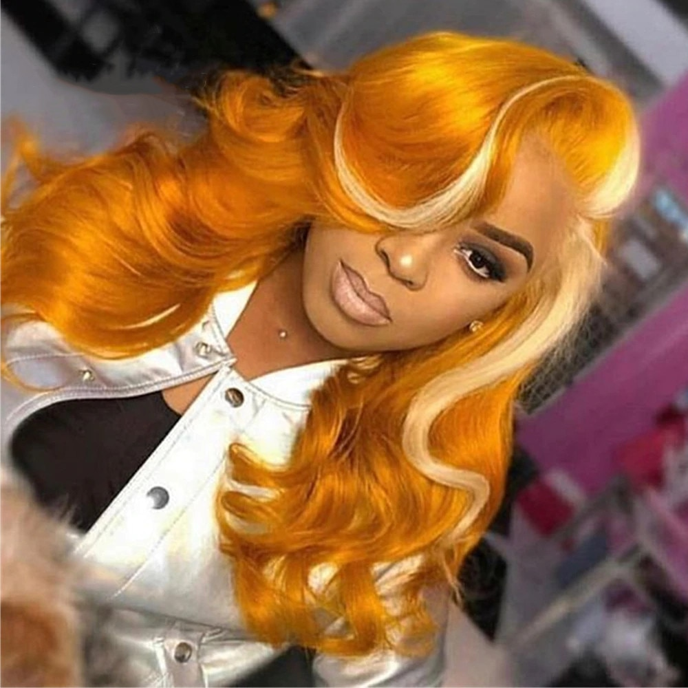 Orange Body Wave Hair With Blonde Highlight Wig Brazilian Virgin Lace Front Wigs Pre Plucked 180 Density