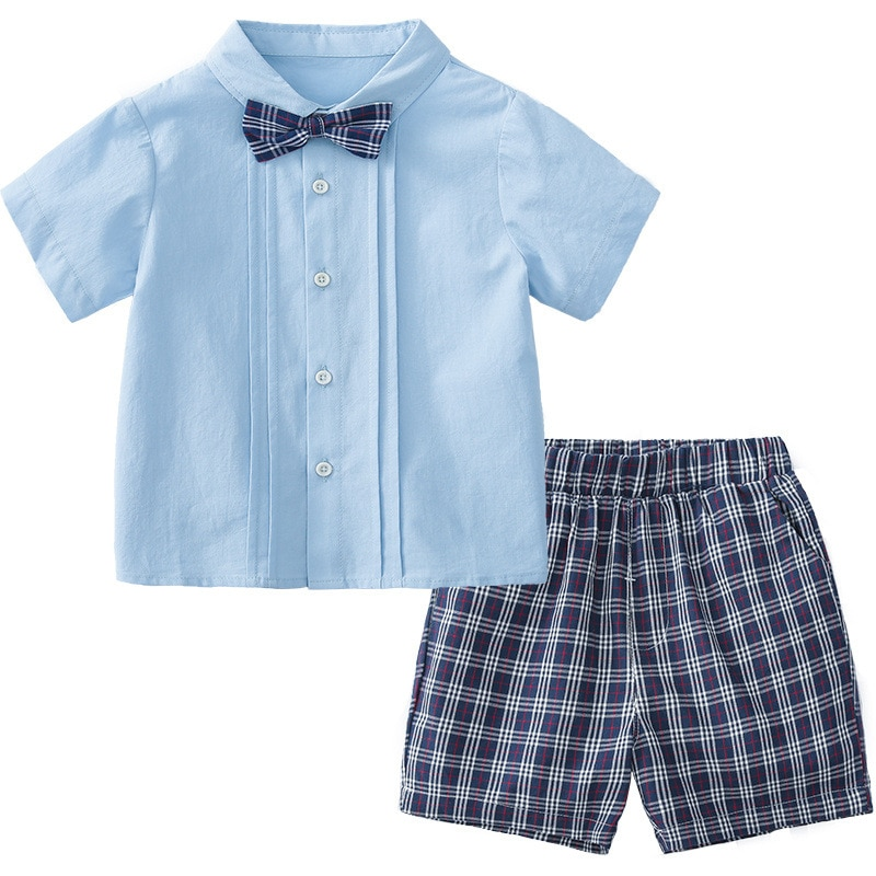 Купить с кэшбэком Little Boy Clothes Sets for Kids Summer Suit Children Blue Blouse+Plaid Shorts 2Pcs Outfits Spanish Korean Baby Birthday Sets