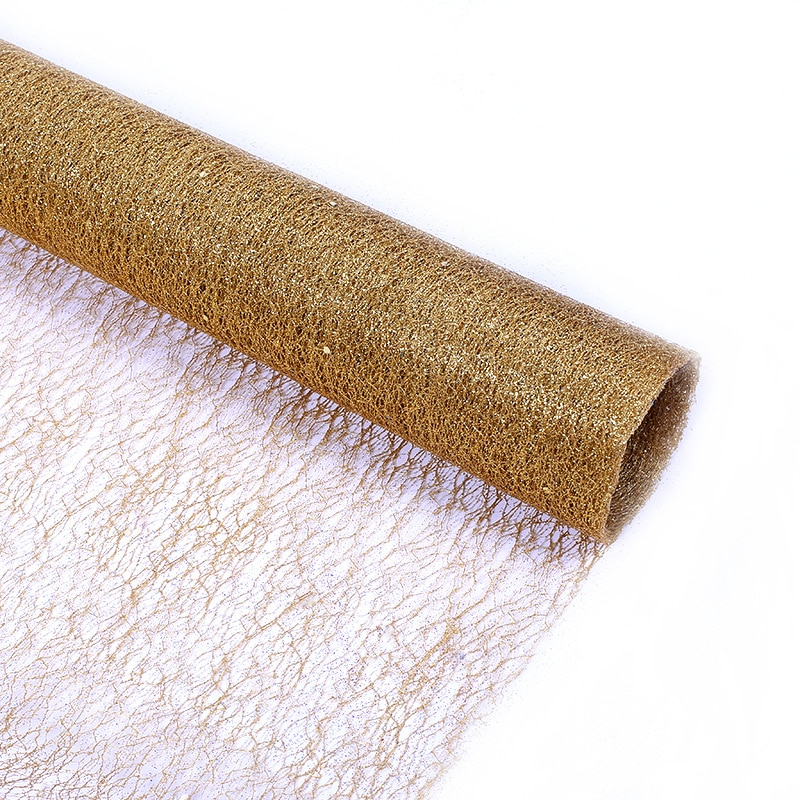 aliexpress.com - 5Yards 50cm Gold Wire Tissue Tulle Roll Spool Handmadecraft Wedding Party Decoration Flower Wrapping Organza Table Runner Decor