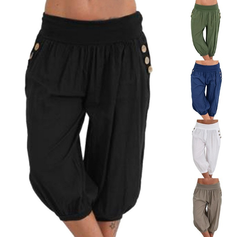 Summer Casual Trousers Plus Size Casual Men's Solid Color Sequined Pleated Drawstring Capri Pants Harem Pants pants for men
