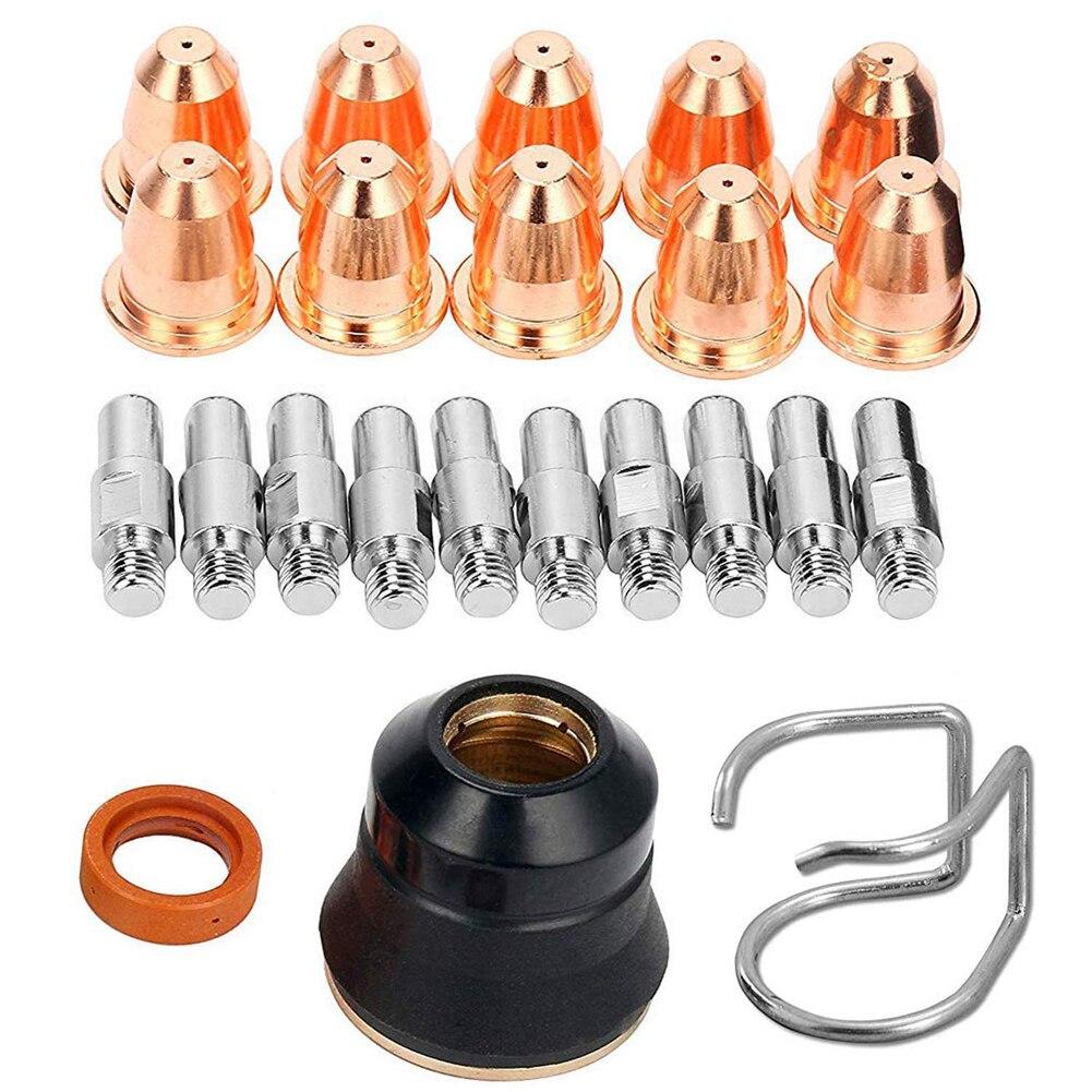 Protective Cap S45 Electrode Slice Nozzle Plasma Slice Torch Welding Tool S45 Plasma Accessory Kit 23PCS Machine Welding