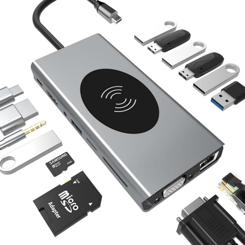 محطة إرساء مع Usb Type-C ، 4K ، hdmi 1080p ، VGA ، Rj45 ، Ethernet ، PD ، USB 3.0 ، قارئ بطاقات SD TF ، شاحن لاسلكي ، قفص الاتهام