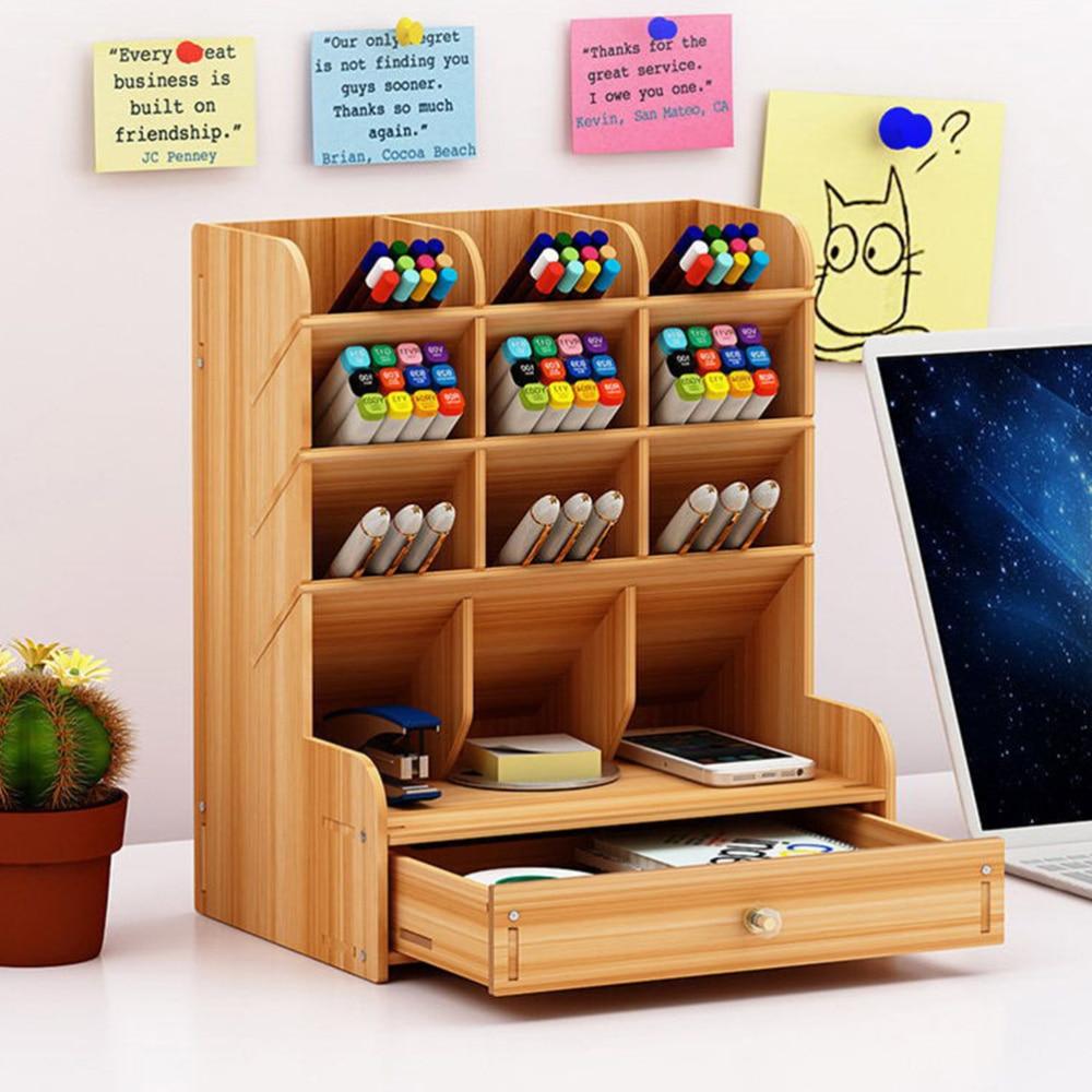 Wooden Pen Holder Storage Box Large Capacity Creative Fashion Simple Multi-Divided Pen Holder Office Desktop Storage Shelf (Cher