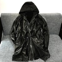 nishikawa cowhide leather soft pure vegetable tanned calf leather three dimensional tailoring hooded coat