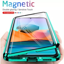 360 Magnetic Adsorption Metal Case For Xiaomi Redmi Note 10 9 8 7 Pro 9A 8A Mi 11 10 Poco X3NFC F2Pro MI Note10 lite Glass Cover