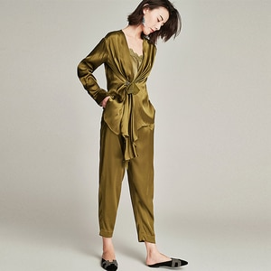 High-end 100% Heavy Silk Suit Women Wrapped Silk Two-piece Suit Long Sleeves Casual Pockets Pants Suits For Women New Fashion