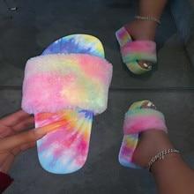 vertvie Rainbow Women Fur Slippers Furry Slides Summer Bling Slide Sandals Plush Outdoor Casual Shoes Home Slippers Comfortable