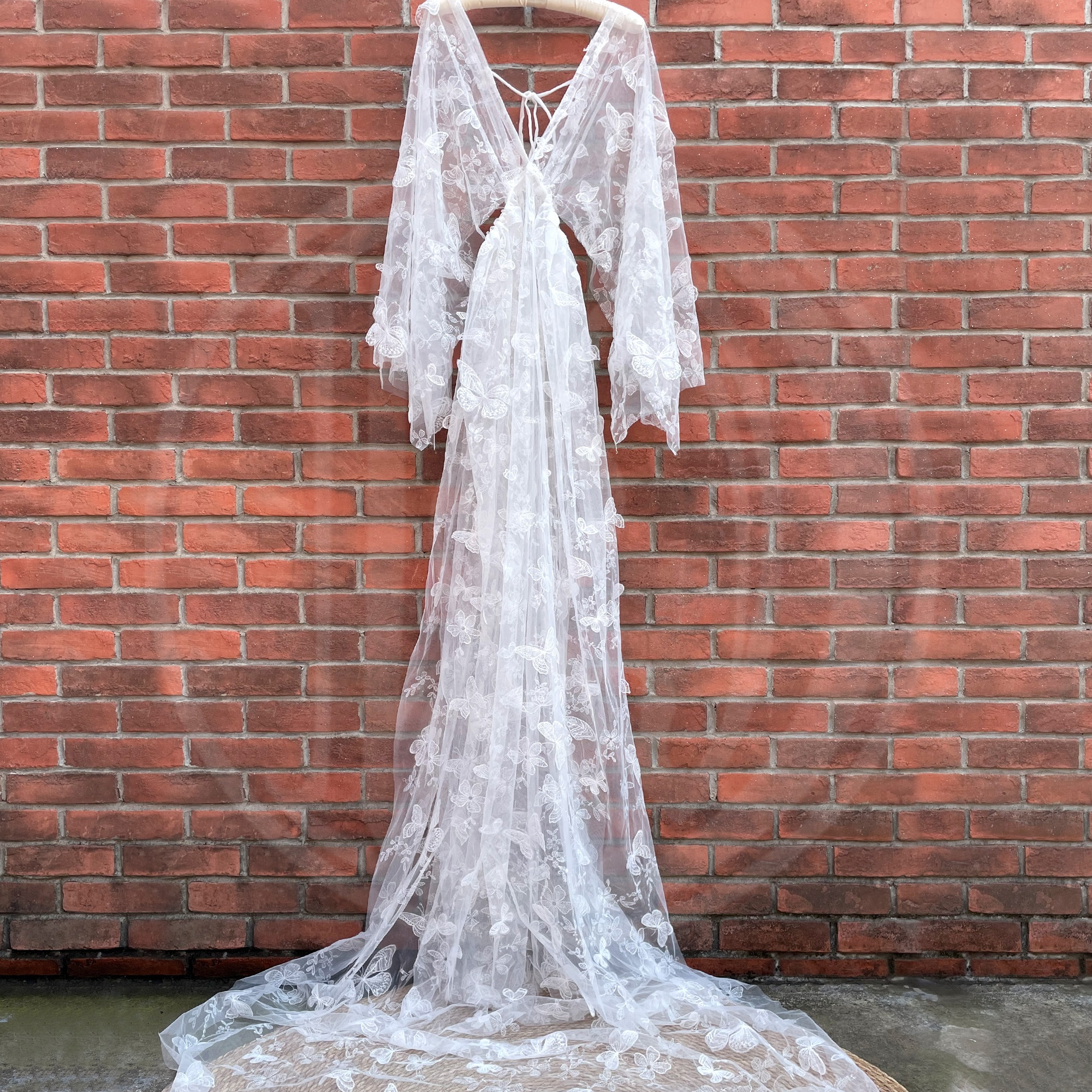 Photo Shoot Fairy White Embroidery Butterfly Boho Long Maternity Dress Pregnant Gown Woman Photography Costume Baby Shower Robe