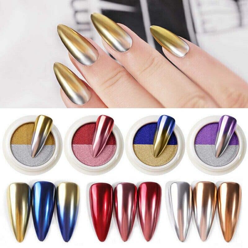 1 Box Mirror Nail Powder Glitter Dust Metallic Colorful Glitter Metal Effect Nail Art UV Gel Polish
