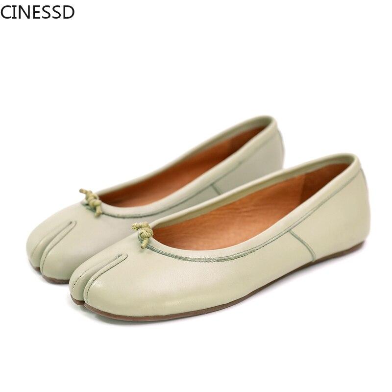 المرأة سبليت تو جلد طبيعي الشقق الطبقة الأولى جلد الغنم الباليه مضخات حقيقية أحذية من الجلد امرأة الضحلة الأحذية