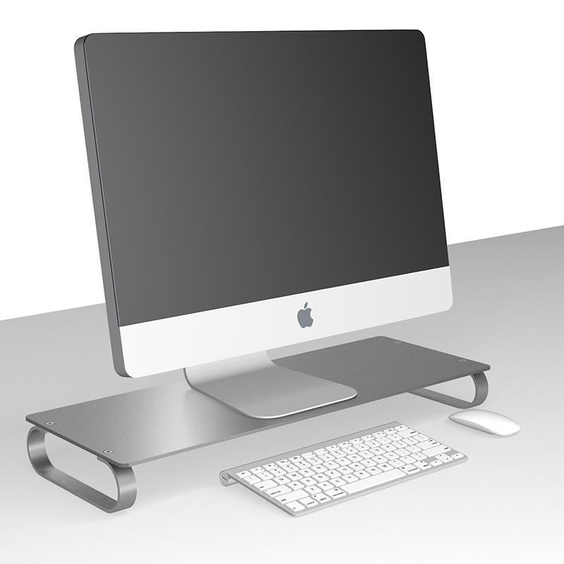 Monitor Riser Holder Aluminum LCD LED Display Heighten Base Laptop Stand Desktop Spacing Saving Lapdesk for iMac MacBook
