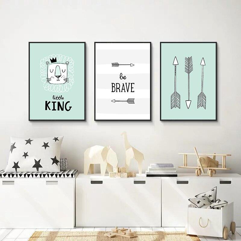 Pintura abstracta de animales para niños, lienzo de Tigre, arte de pared de vivero, cartel valiente e impresión, decoración de imagen de chico habitación de bebé moderno Nórdico
