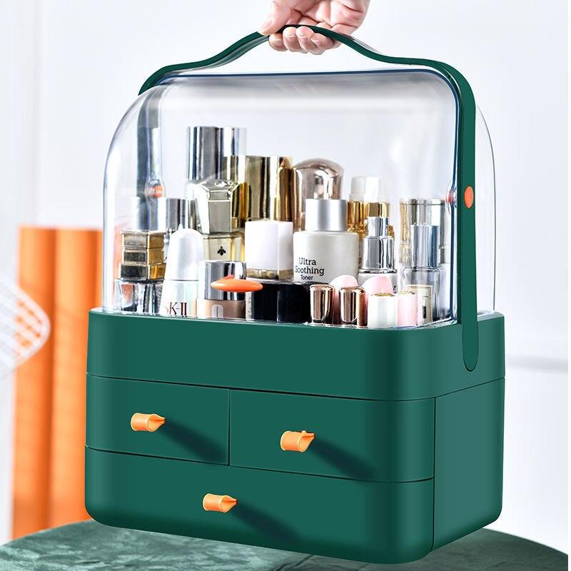 المحمولة قدرة صندوق تخزين مستحضرات التجميل الحمام سطح المكتب الجمال ماكياج المنظم العناية بالبشرة درج تخزين مقاوم للماء الغبار