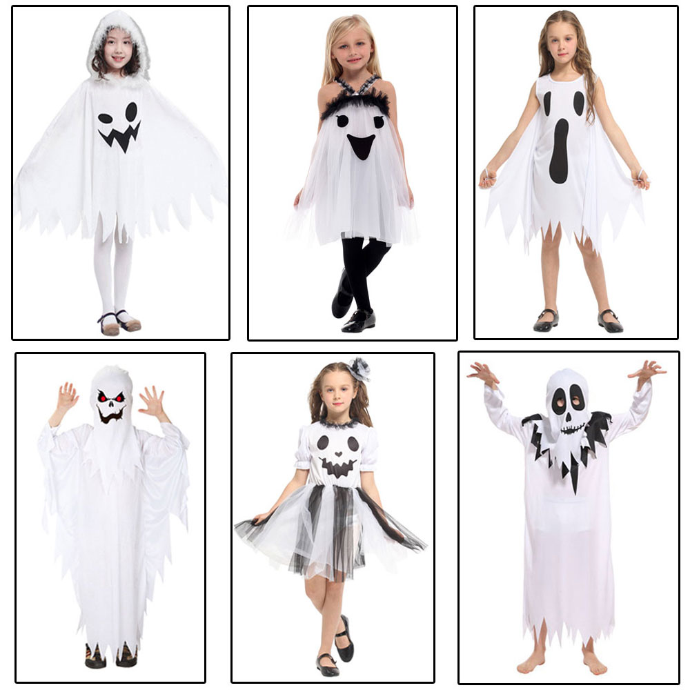 Umorden Purim Carnival Halloween Scary Costumes Kids Children White Ghost Costume Cosplay Robe for Boys Girls halloween purim costumes for kids girls carnival the king prince costume for boy boys children fantasia infantil cosplay child