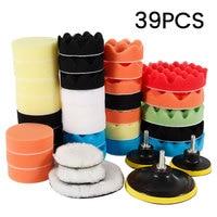 39pcs Car Polishing Kit Polishing Sponge Pad Foam Buffer Polishing Pad Set Machine Wax Sealing Glaze Auto Accessories
