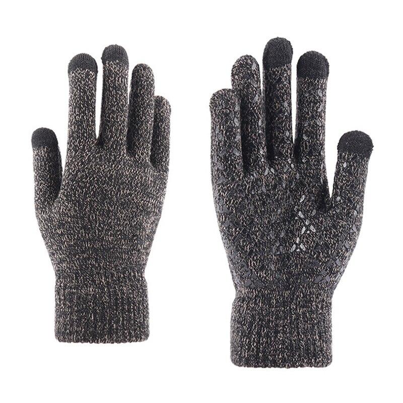 Зимние мужские перчатки, плюшевые плотные мужские вязаные Нескользящие перчатки, перчатки для работы на открытом воздухе, сенсорные велоси...