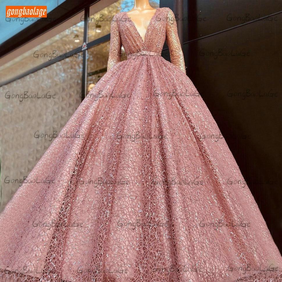 Vestido De Fiesta De encaje rosa para mujer, Vestido De Fiesta Largo De manga larga con cuello De pico, Sexy, bohemio, 2021