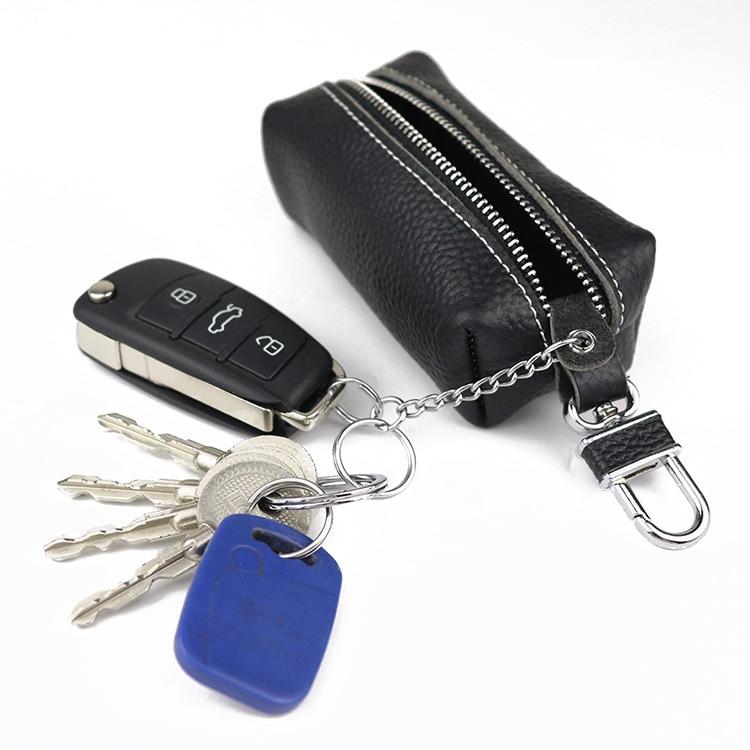 Funda de cuero genuino para llave de coche, pequeña cartera de negocios Kay, para hombres y mujeres, al por mayor