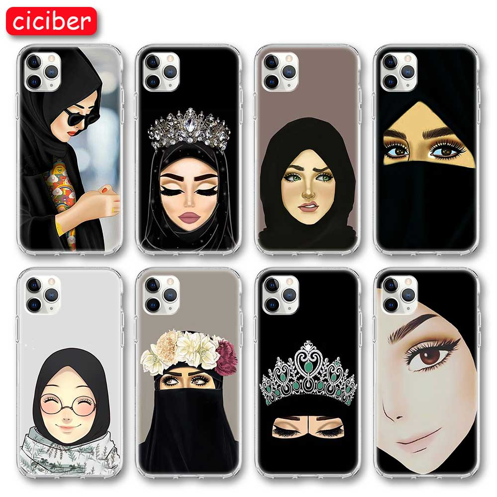 Funda de teléfono dibujo chica islámica para iPhone 11 Pro Max cubierta para iPhone X XR XS MAX 7 8 6 6S Plus SE 2020 silicona suave TPU Coque