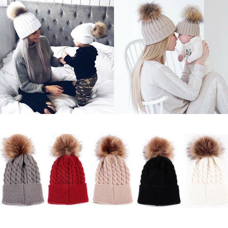 2 unids/set madre Mamá bebé niños de punto pompón esponjoso sombrero niños chicos niños niñas invierno cálido piel pompón esponjoso sombrero gorra de esquí 5 colores