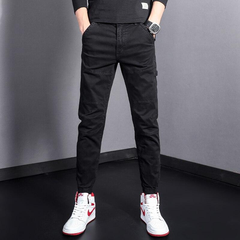 Модные мужские джинсы в Корейском стиле, комбинированные Дизайнерские повседневные брюки-карго, уличная одежда, джоггеры с обручем на бедр...