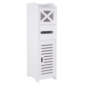 【US Warehouse】Narrow Cabinet for Pvc Toilet Cross Tissues Two Tissue Storages (20x25x74cm)