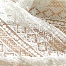 1 mère/lot de 150cm de large   Tissu blanc en maille fine, tissu en dentelle de coton brodé, accessoire pour Tshirt X667