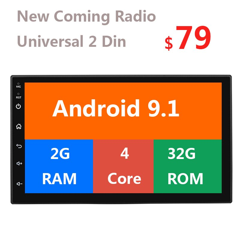 Android 9.1 2g + 32g carro multimídia jogador gps wifi 2 din tela de toque rádio auto estéreo 7 Polegada mp5 bluetooth autoradio fm 47